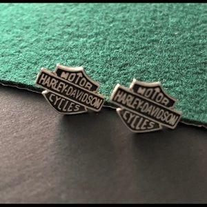 Harley Davidson oxidized stud earrings